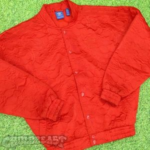 Adidas Floral Red Bomber Varsity Jacket womens XS